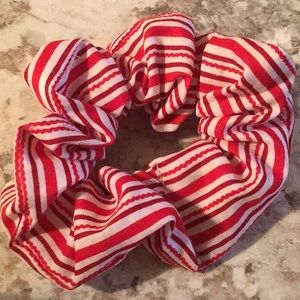 Red white striped striped candy cane scrunchie new